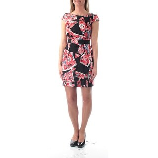 FRENCH CONNECTION $158 Womens New 1241 Black Red Printed Dress 0 Juniors B+B