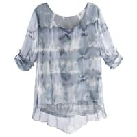 Women's Sheer Layered Tunic Top - Silky Clouds And Sequins Blouse over Tank Top