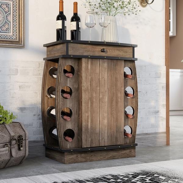 Carbon Loft Avital Rustic Reclaimed Oak Finish Multi-storage Bar Cabinet. Opens flyout.