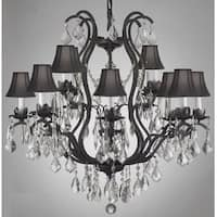 Swarovski Elements Crystal Trimmed Wrought Iron Crystal Chandelier With Black Shades