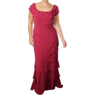Tadashi Shoji Womens Evening Dress Ruffled Textured