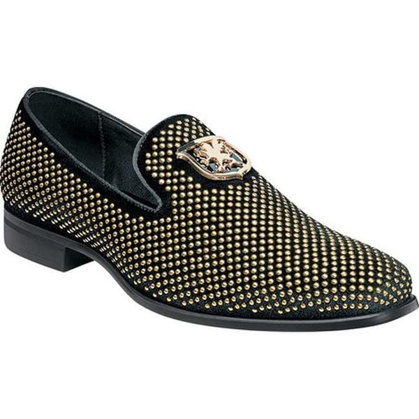 Shop Stacy Adams Men s Swagger Studded Loafer Black Gold Studded Fabric -  On Sale - Free Shipping Today - Overstock - 22866270 630882843f94