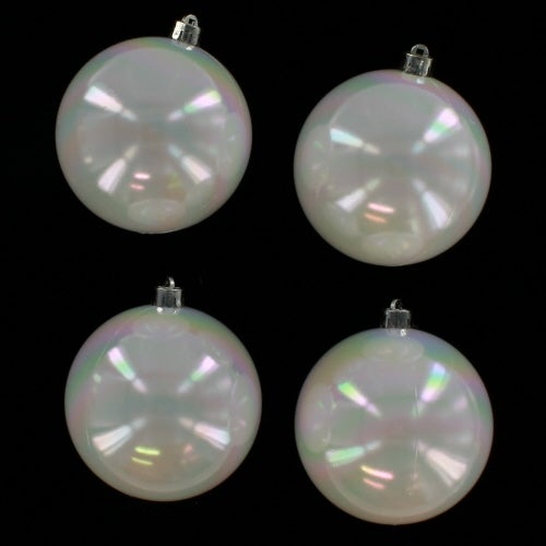 White Iridescent Baubles - Shatterproof - Pack of 4 x 100mm
