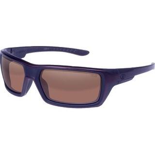 Gargoyles Khyber Polarized Sunglasses Matte Dark Red Frame/Brown w/ Silver Mirror Lenses