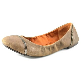 Lucky Brand Esste Women Round Toe Leather Brown Ballet Flats