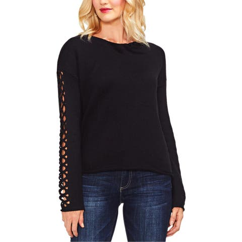 Vince Camuto Womens Pullover Sweater Braided Sleeve Crewneck