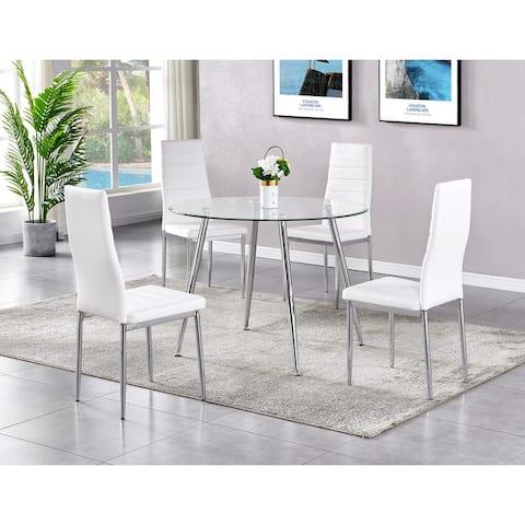 Best Master Furniture 5 Pieces Round Glass Top Dinette Set