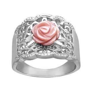 Pink Mother-of-Pearl Flower Ring in Sterling Silver
