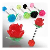 "Barbell with UV Reactive Silicone Flower Top (Sold Individually) - 14 GA 5/8"" Long"