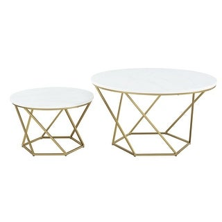 Delacora WE-BDF28CLRGM  Two Piece Marble Top Metal Accent Table - White Marble with Gold