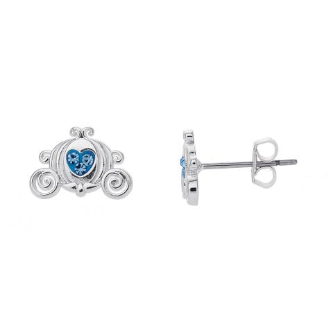 Disney Cinderella Blue Crystal Carriage Silver Plated Stud Earrings