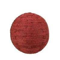 "5.5"" Country Cabin Worn Red Basket Weave String Ball Decoration"