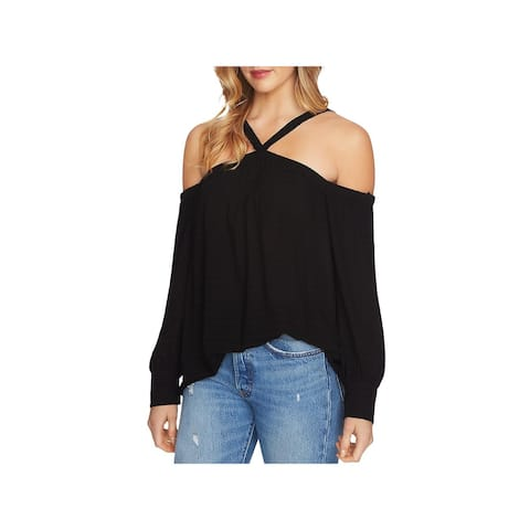 1.State Womens Pullover Top Halter Cold Shoulder