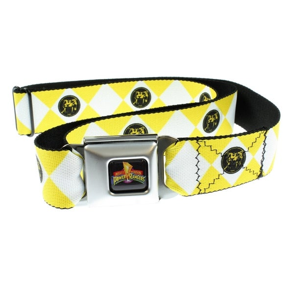 Power Rangers Logo Ranger Diamonds Adult Seatbelt Belt (One Size, Yellow)-Holds Pants Up
