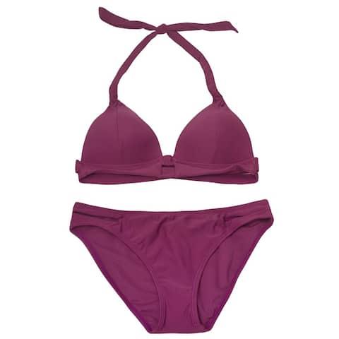 Gossip Women's Purple Solid Color Halter Tie Top 2 Pc Bikini Swimsuit