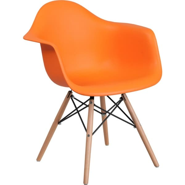 Offex Orange Plastic Accent Side Chair with Wood Base [OFX-456832-FF]
