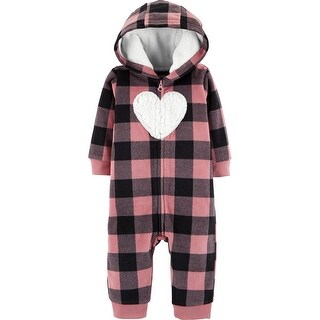 Carter's Baby Girls' Plaid Hooded Fleece Jumpsuit