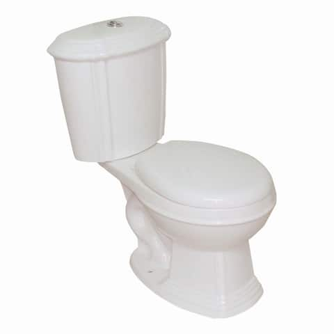 Glazed Bone China Round Two Piece Toilet push button Dual Flush Front