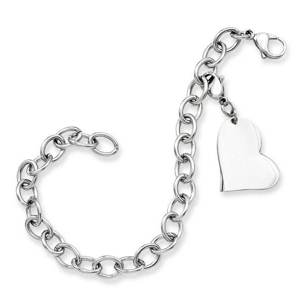 Stainless Steel Heart Charm 8in Bracelet