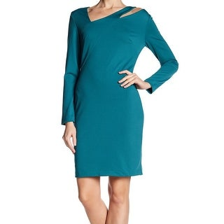Alexia Admor Teal Womens Large Assymetrical Sheath Dress