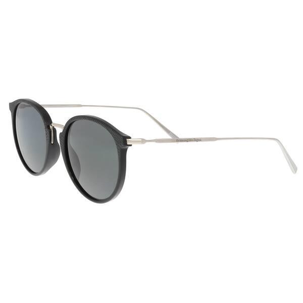 42fb6fcd9 Ermenegildo Zegna EZ 0048 01A Black/Silver Round Sunglasses - 51-20-145