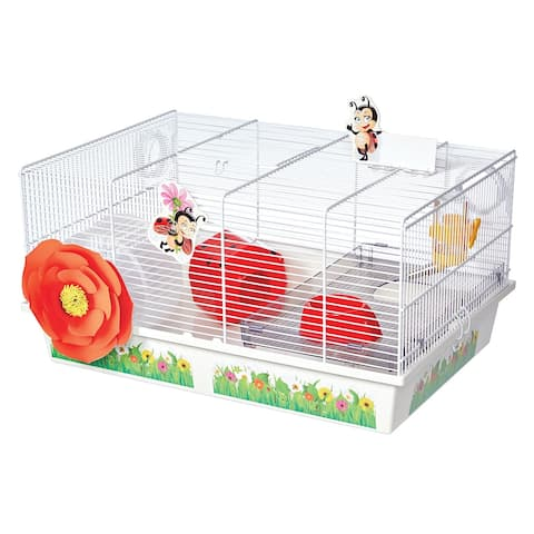 """Midwest Critterville Ladybug Hamster Home 19.5"""" x 13.8"""" x 9.8"""" - White, Red - 19.5"""" x 13.8"""" x 9.8"""""""