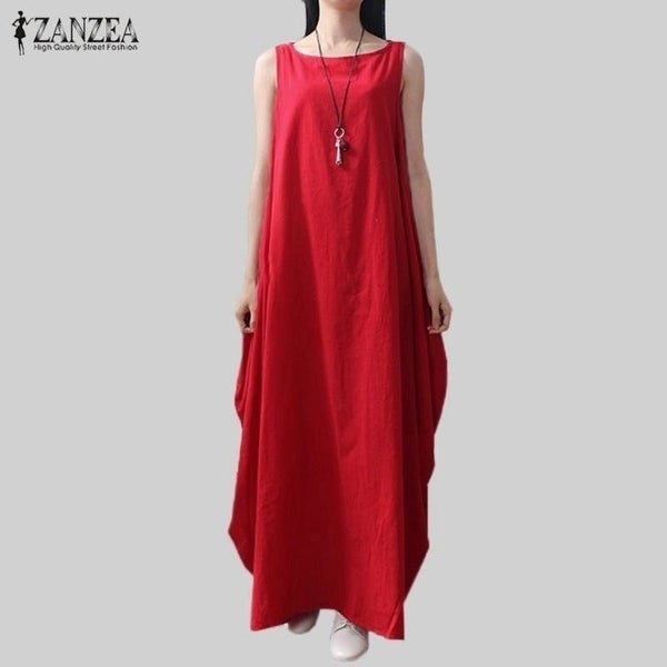 764a7a399ef Casual Retro Solid Summer Dress 2017 Women Elegant Loose Sleeveless O Neck Dress  Cotton Linen Long