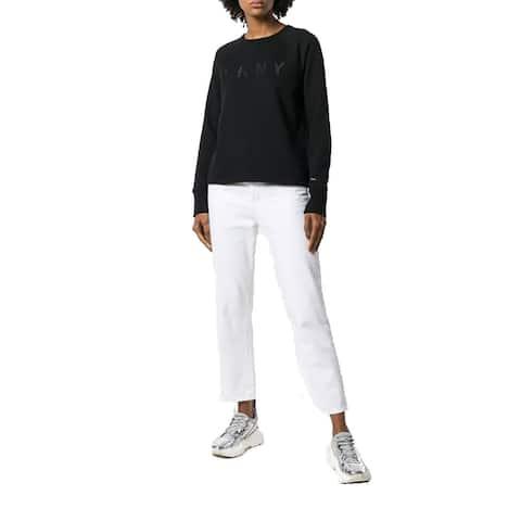 DKNY Women's Logo Embroidered Sweatshirt, (Black Medium)
