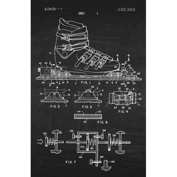 Ski Binding Patent Poster (White on Chalkboard) - Sports Patents - 24x16 Poster
