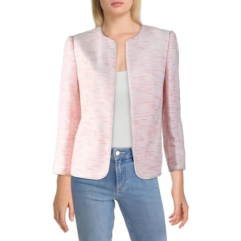 Anne Klein Womens Collarless Blazer Tweed Open Front - White/Cherry Blossom