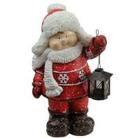 "16.50"" Christmas Morning Boy Holding Tealight Lantern Christmas Tabletop Figure - Red"