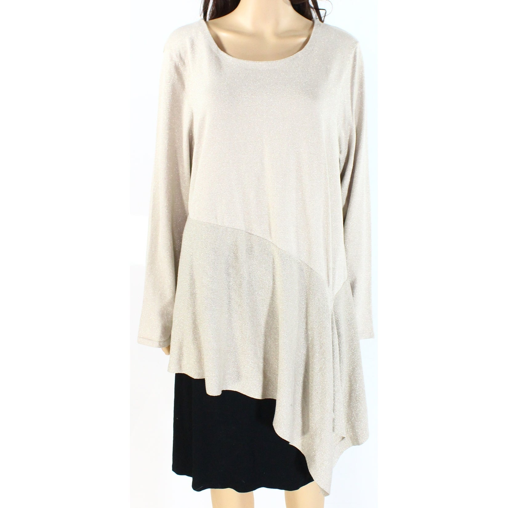 Alfani New Women/'s Beige Lace Trimmed Crewneck Sweater Top XL