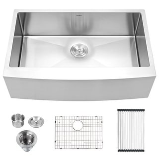 Link to 33 Inch Farmhouse Kitchen Sink,16 Gauge Stainless Steel Apron Front Single Bowl Farm Kitchen Sink Similar Items in Sinks