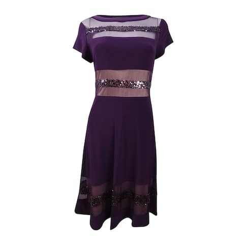 R&M Richards Women's Sheer and Sequins Strapping Banded Dress