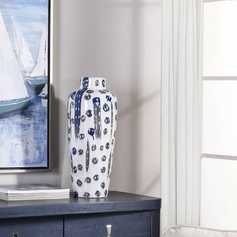 StyleCraft Reactive Glaze Romani Blue with Streak Pattern Ceramic Vase