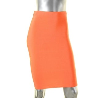 WOW Couture Womens Pencil Skirt Stretch Pull On Orange S