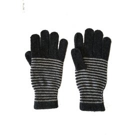 Unisex Striped Gloves Angora Fur and Wool Blend