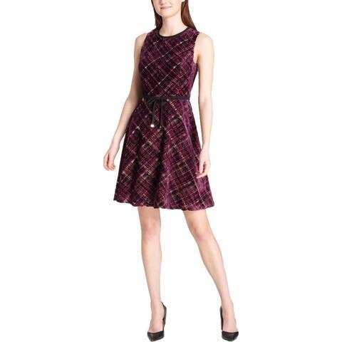 Tommy Hilfiger Womens Scuba Dress Velvet Plaid