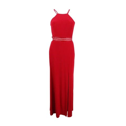 Nightway Women's Strappy Beaded A-Line Gown