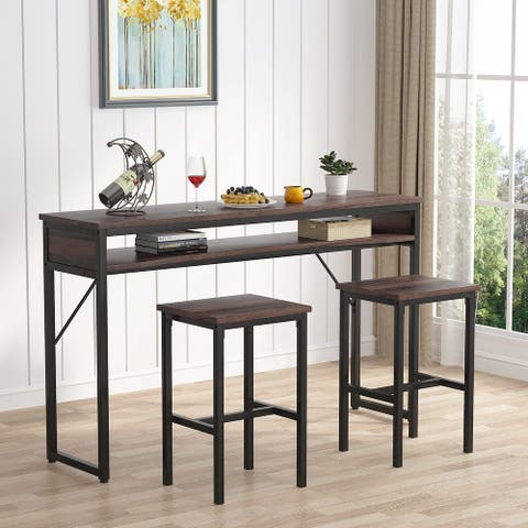 3 Piece Bar Table and Stools Set, Industrial Pub Table Set for Living Room, Dining Room - N/A
