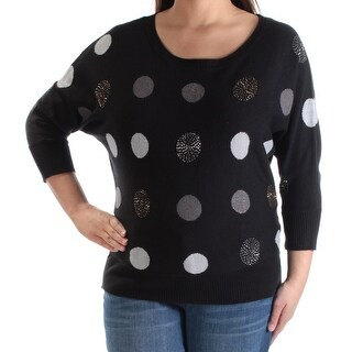 CHARTER CLUB $79 Womens New 1444 Black Polka Dot Beaded Metallic Sweater XL B+B