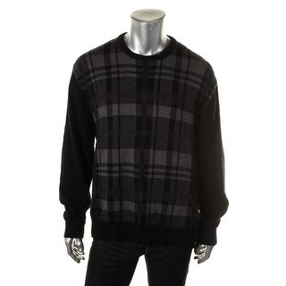 Weatherproof Vintage Mens Knit Plaid Crewneck Sweater