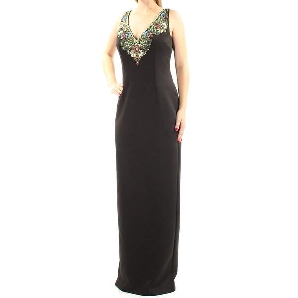 Shop Adrianna Papell Womens Black Sequined Rhinestone Sleeveless V