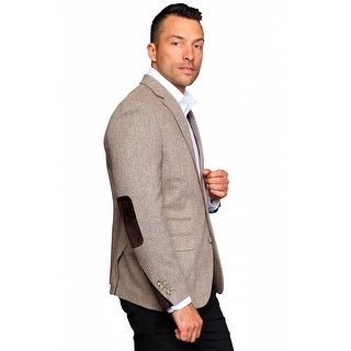 MZW-515 TAN Men's Manzini Fancy Solid gray wool sport coat with Velvet trim on the elbow patch and cuff of the sleeve.