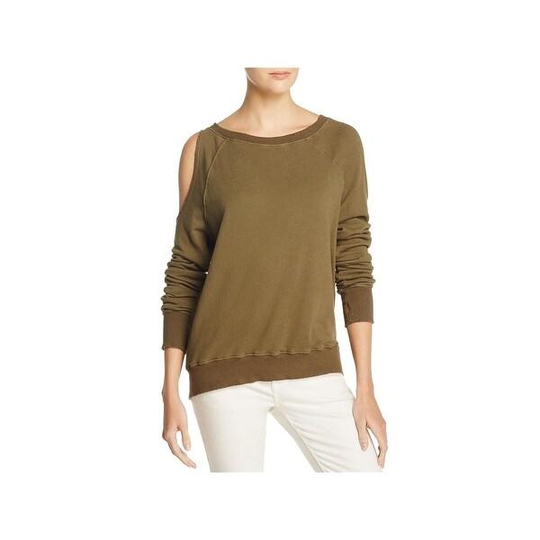 b0ab96c0ca6ff Shop Pam   Gela Womens Sweatshirt Cold-Shoulder Distressed - On Sale ...