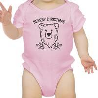 Bearry Christmas Bear Cute Christmas Baby Bodysuit Pink New Mom Gift