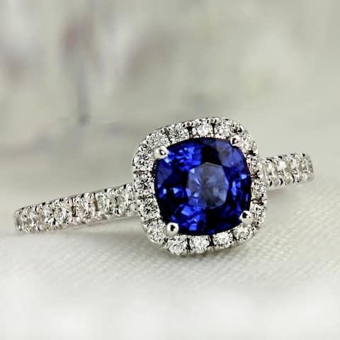 Auriya Platinum 1ct Cushion-cut Blue Sapphire Halo Diamond Engagement Ring 1/2ctw