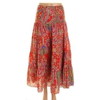 Lauren Ralph Lauren Womens Paisley Elastic Waist Peasant, Boho Skirt - S