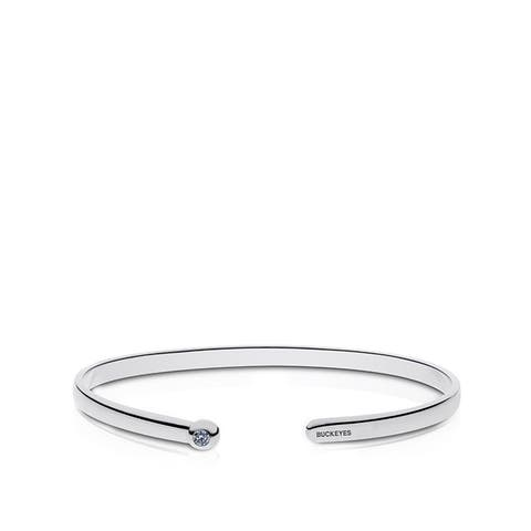 The Ohio State University Engraved Sterling Silver White Sapphire Cuff Bracelet