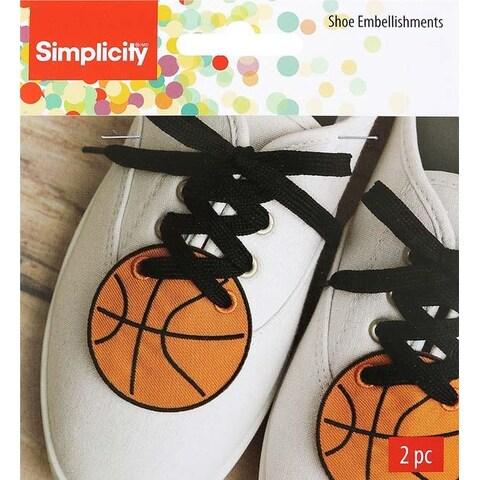 """Orange Basketball 2.4""""X2.5"""" - Wrights Shoe Wing Embellishment 2/Pkg"""
